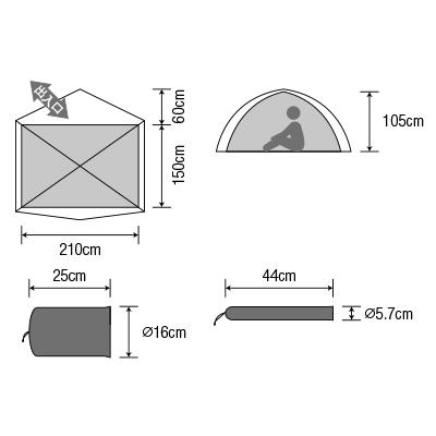 2-3人用テント】ダンロップ コンパクト登山テント VS-30