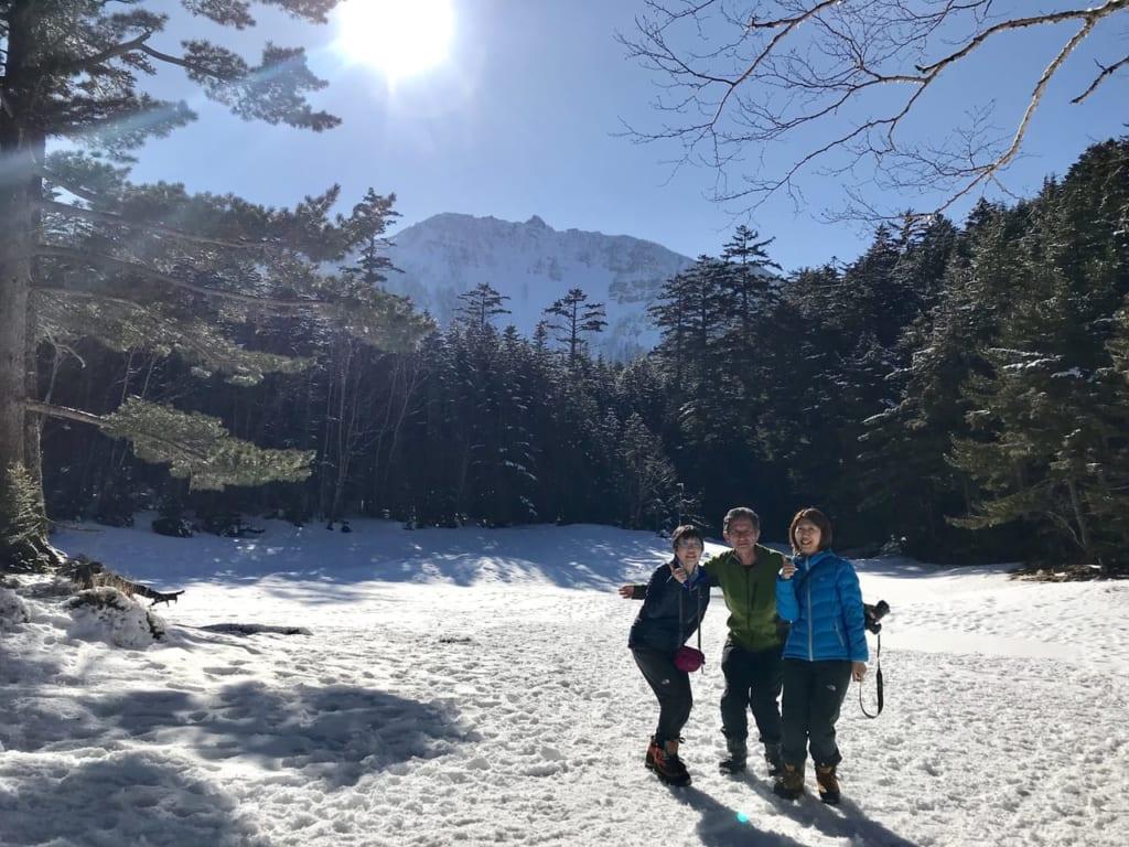 雪の天狗岳ツアーの様子